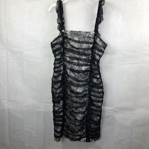 Calvin Klein Black & White Lace Ruffle Dress Sz 12